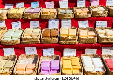 Aix-en-Provence, FRANCE, on March 6, 2018. Traditional souvenirs from Provence soap from natural ingredients