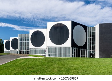 Aix-en-Provence, France - September 6, 2019: Exterior of geometric modern art gallery of Vasarely Foundation