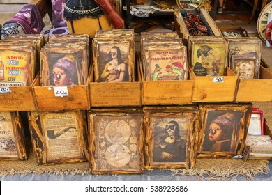 Aix-en-Provence - July 27, 2016: pictures at an antique store in Aix-en-Provence. Aix-en-Provence is University city and the historical capital of the Provence.
