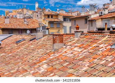 Aix-en-Provence. View of the tiled roofs of the old city.