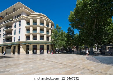 Aix-en-Provence/France - August 14 2016: Giuseppe Verdi avenue, Aix-en-Provence, France. Aix-en-Provence is a city-commune in the south of France, about 30 km north of Marseille.