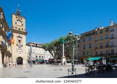 Aix-en-Provence/France - August 14 2016: Place de l'Hôtel-de-Ville square in the old city of Aix-en-Provence, France. It was built starting 1754. Aix-en-Provence is a city-commune in the south of Fran