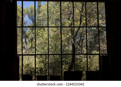 Aix-en-Provence/France - August 14 2016: The window showing the garden at Paul Cezanne studio. Paul Cézanne (19 January 1839 – 22 October 1906) was a French artist and Post-Impressionist painter.