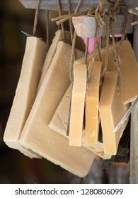 Aix-en-Provence/France - August 16 2016: Traditional Marseille soap in a souvenir shop . Marseille soap or Savon de Marseille is a traditional hard soap made from vegetable oils.