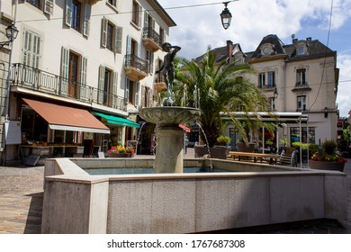 Aix-les-bains/France-June 16,2020: fountain on the old center street  Aix les bains french  thermal town