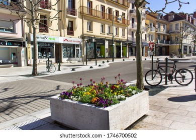 Aix-les-bains/France-March 15,2020:historical center street Aix les bains french spa thermal town