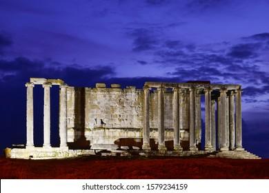 Aizanoi ancient city at night in Cavdarhisar, Kutahya, Turkey