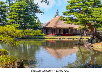 AIZUWAKAMATSU, JAPAN - APRIL 19 2018: Oyakuen medicinal herb garden first established in the 1380s, there are about 400 kinds of herbs and trees cultivated in and around the garden