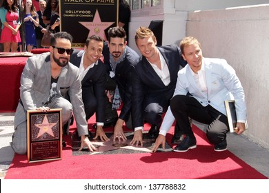 """AJ McLean, Howie Dorough, Kevin Richardson, Nick Carter and Brian Littrell at the """"Backstreet Boys"""" Star on the Walk of Fame, Hollywood, CA 04-22-13"""