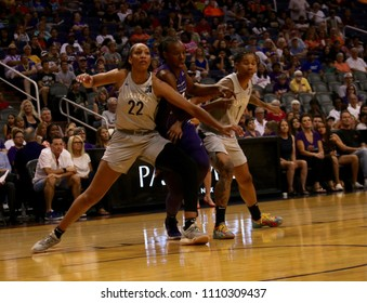 A'ja Wilson center for the Los Vegas gas Aces at Talking Stick Resort Arena in Phoenix, Arizona USA June 10,2018.