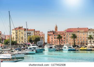 AJACCIO, CORICA, FRANCE - September, 13, 2016: Ajaccio port cityscape with moored yachts and pleasure boats , Corsica island, France