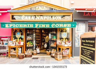 Ajaccio, Corsica - 28th September 2017: Casa Naoleon grocers shop, epicerie. Corsica has been part of France since 1768.