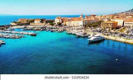 Ajaccio, Corsica, France- Agoust, 2nd, 2018: Overhead view of the coastline and marinain Corsica.