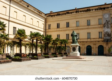 AJACCIO, CORSICA, FRANCE, AUGUST 30, 2016: Statue of cardinal Joseph Fesch in the foreground of the museum