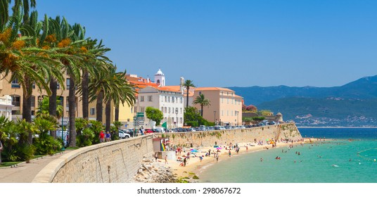 Ajaccio, Corsica, France. Coastal cityscape panorama