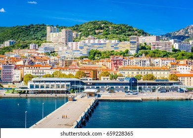 Ajaccio, Corsica, France coastal skyline.