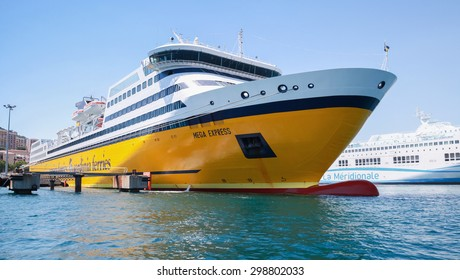 Ajaccio, France - June 30, 2015: The Mega Express ferry, big yellow passenger ship operated by Corsica Ferries Sardinia Ferries shipping company moored in Ajaccio port