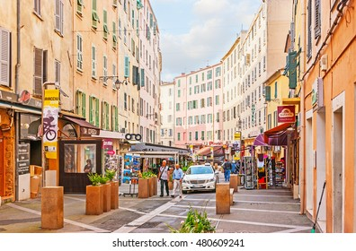 AJACCIO, FRANCE - MAY 2, 2013: The street of Cardinal Fesh is the best place to go for the shopping, visit local cafes, souvenir stores, art galleries, on May 2 in Ajaccio.