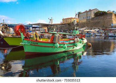 Ajaccio France - November 8, 2017 : Small wooden fishing boats moored in old port of Ajaccio South Corsica France
