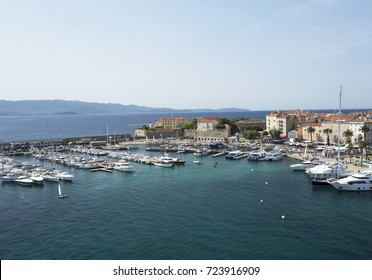 Ajaccio harbor with moored yachts and pleasure boats, Corsica island, France