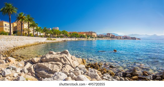 Ajaccio old city center coastal cityscape with palm trees and typical old houses, Corsica, France, Europe.