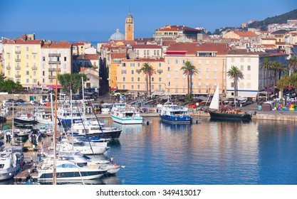 Ajaccio port cityscape with moored yachts and pleasure boats , Corsica island, France