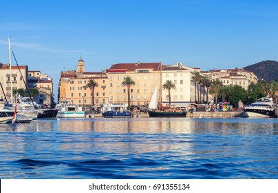 Ajaccio port. Cityscape with moored yachts and pleasure boats , Corsica island, France