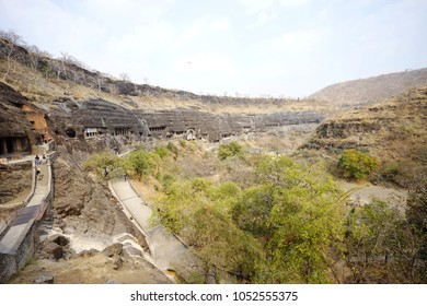 Ajanta cave background nature mountain scape