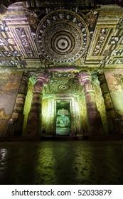 Ajanta cave temple. Part of interior