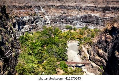 Ajanta cave view carved in the rock wall near Aurangabad, Maharashtra, India