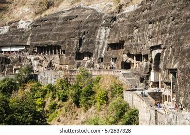 Ajanta cave view carved in the rock wall near Aurangabad, Maharashtra, India. UNESCO World Heritage.