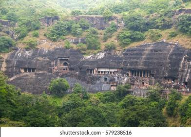 Ajanta Caves,  ancient Buddhist rock temple, Aurangabad, India. UNESCO World Heritage.