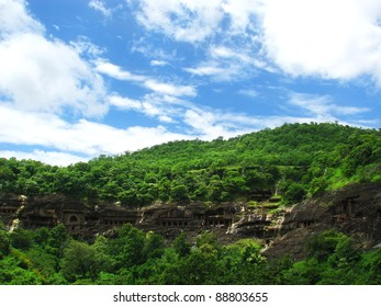 Ajanta Caves, India: amazing site of ancient buddhist temples, carved in the rock as large caves. Started 2nd century BC. Unesco World Heritage.