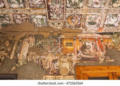 Ajanta caves, India - March 3, 2016: Painting inside the Ajanta caves, India