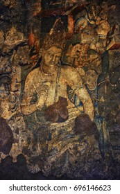 Ajanta Caves paintings, Aurangabad, India, December 2016. A landscape view of Ajanta cave's masterpiece painting with full details, Ajanta Caves, Aurangabad, India.