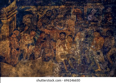 Ajanta Caves paintings, Aurangabad, India, December 2016. A landscape view of Ajanta cave's masterpiece painting with full details, Ajanta Caves, Aurangabad, India.