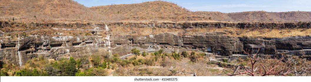 Ajanta caves panorama near Aurangabad, Maharashtra state in India