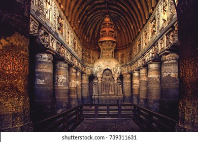 Ajanta Cave's relief sculpture and Buddhist Chaitya, Aurangabad, India, December 2016. A landscape view of Ajanta cave's rock-cut relief sculpture Ajanta Caves, Aurangabad, India.