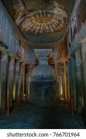 Ajanta, India.  - January 7, 2012:  Stupa chorten inside Buddhist Cave 9, Ajanta, Maharashta, India