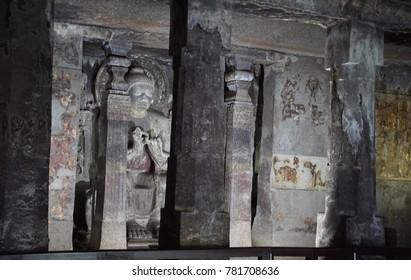 AJANTA, INDIA - OCT 4, 2017 - Buddha statue in Buddhist Cave 16, Ajanta, Maharashta, India