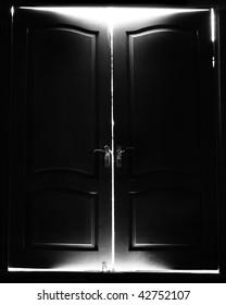 Ajar door light beam conceptual illustration with door opening and light streaming out around the door