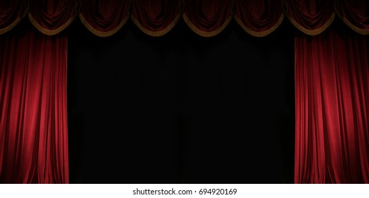ajar red curtain on stage of the theater, Gorgeous background with space for text for your message