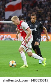 Ajax Donny van de Beek #6 AJAX player seen in action at the UEFA Champions League playoffs third qualifying round between against PAOK at Johan Cruyff Arena Stadium Amsterdam, Netherlands - 13.08.2019