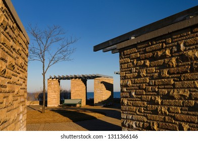 Ajax, Ontario, Canada - March 6, 2010: Commemorative stonehenge for the old Ajax water purification plant site on Lake Ontario