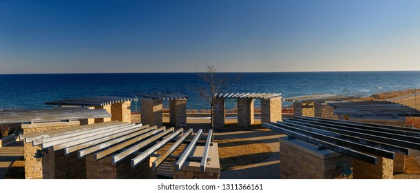 Ajax, Ontario, Canada - March 6, 2010: Panormama of the old Ajax water treatment plant site on Lake Ontario