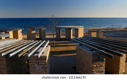 Ajax, Ontario, Canada - March 6, 2010: Commemorative stonehenge at the old Ajax water treatment plant site on Lake Ontario