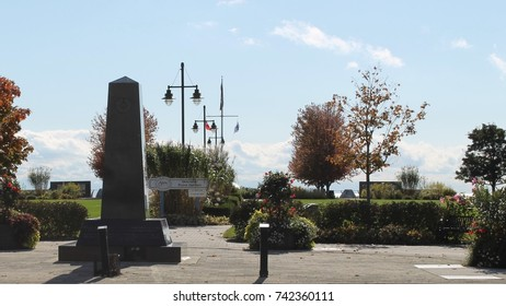 AJAX, ONTARIO, CANADA -- OCTOBER 24, 2017: Veterans Point Park, located along the Waterfront Trail by Lake Ontario in Ajax, stands as a historical memorial to veterans