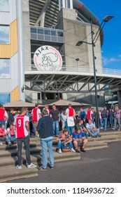 Ajax Supporters Preparing For The Match With AEK Athens At Amsterdam The Netherlands 2018. The match takes place At 19-9-2018 at the Amsterdam Arena Soccer Stadium.
