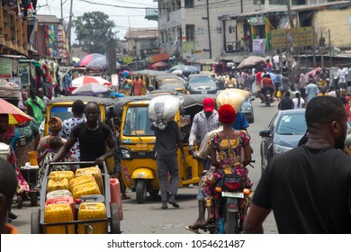 Ajegunle City, Lagos State Nigeria March 22, 2018: Busy Streets bustling with commercial activity