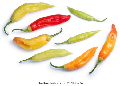 Aji Cristal chile peppers (C. baccatum), ripe, unripe pods. Clipping paths, shadows separated, top view